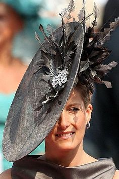 HRH Countess of Wessex wore a Jane Taylor hat to the Royal wedding in Monaco.