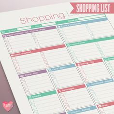 Shopping List with Categories - Instant Download! PDF format ready to print at home!  This Shopping List is the perfect place to keep track of all the things you need to buy at the supermarket or Grocery Store!