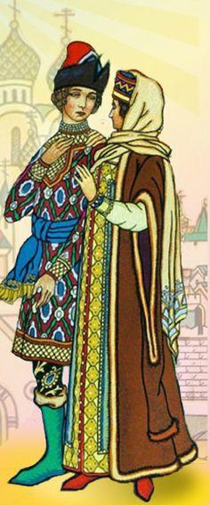Russian costumes of the 16th century. #art #folk #Russian #costume