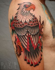 Traditional tattoo of an eagle perched on a branch looking back. By David Bruehl at RedLetter1 in Tampa, Florida