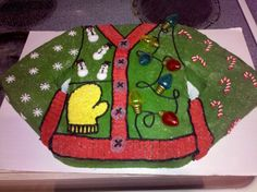 "ugly sweater cake   Needing ideas for a FUN Ugly Christmas Sweater Party check out ""The How to Party In An Ugly Christmas Sweater"" at Amazon.com"