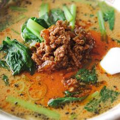Tantan Ramen Noodles. This spicy, warming and rich dish is the Japanese take on a Szechuan favourite, made with ramen noodles, minced pork, soy sauce, sesame and chilli oil.