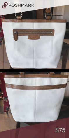 White and Brown Coach Tote Genuine Leather A real patent leather tote bag from Coach Coach Bags Totes