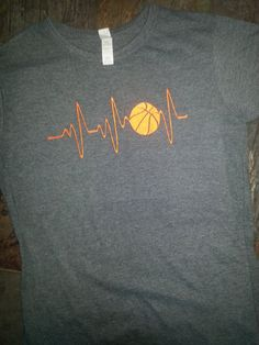 Embroidery Basketball Heart Monitor T-Shirt by M5XDesigns4u
