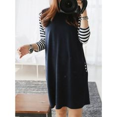 Casual Style Round Neck Long Sleeve Striped Faux Twinset Women's Dress