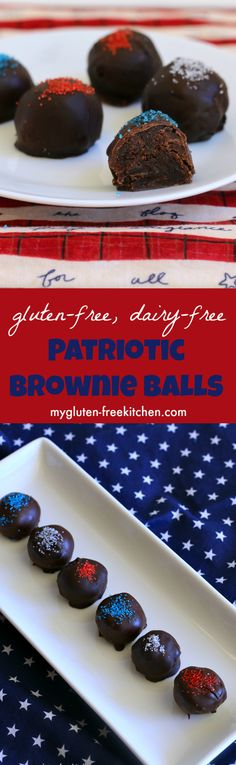 Gluten-free, dairy-free Patriotic Brownie Balls. Recipe for rich brownies coated with dark chocolate and patriotic sprinkles, perfect for summer parties!