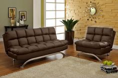 Aristo Dark Brown Collection Sofa Futon $299