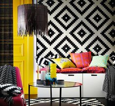 Inspiration deco Ikea. like this idea of hanging the rug on the wall.