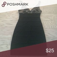Dressy dress LBD with lace and ruching detail Perfect for prom or sorority formals etc worn once! Flattering vneck with ruching and lace detail Macy's Dresses Prom