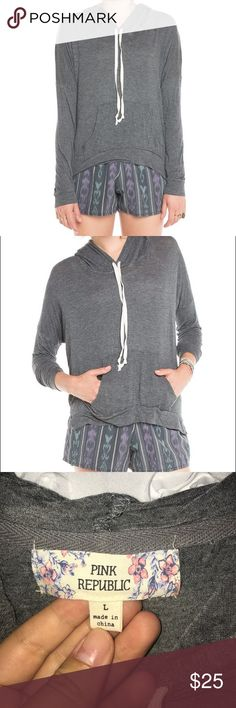 """Brandy Melville Layla Hoodie NOT ACTUALLY BRANDY MELVILLE, BUT ALMOST THE SAME. Size L, but fits like the """"Layla Hoodie"""" from Brandy Melville. Dark gray. Drawstring hood and kangaroo pocket. Lightly worn! Brandy Melville Tops Sweatshirts & Hoodies"""