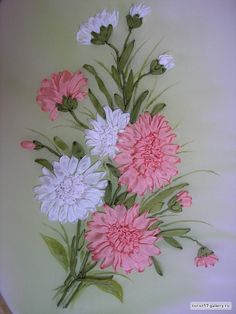 Wonderful Ribbon Embroidery Flowers by Hand Ideas. Enchanting Ribbon Embroidery Flowers by Hand Ideas. Hand Embroidery Design Patterns, Embroidery Stitches Tutorial, Embroidery Flowers Pattern, Silk Ribbon Embroidery, Embroidery Thread, Machine Embroidery, Satin Ribbon Flowers, Ribbon Art, Ribbon Crafts