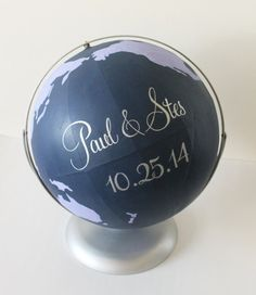 Are you looking for a unique alternative guestbook for your wedding? This globe guestbook is great for a travel themed wedding, or travel themed gift table. It is also great for display and home decor after the wedding.
