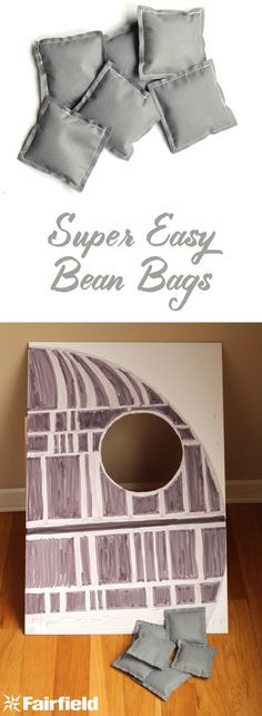 Super Easy Bean Bags, full tutorial with how to sew simple bean bags for bean bag toss.  These were made for a star wars birthday party!
