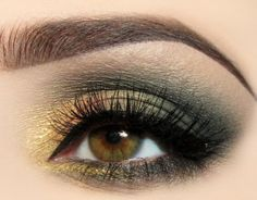 dramatic green + gold... love this because this is my exact eye color as well