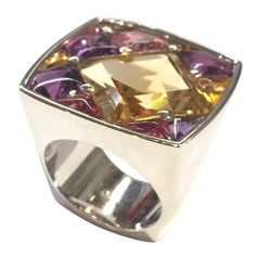 """Chanel Amethyst Citrine Tourmaline Gold """"Matelassé"""" Ring 
