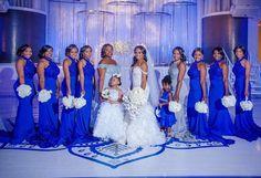 he bridal party! Wedding Poses, Wedding Attire, Wedding Ideas, Royal Blue Bridesmaids, Cobalt Blue Weddings, Blue Wedding Decorations, Wedding Colors, Wedding Bridesmaid Dresses, Dream Wedding