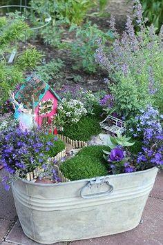 Metal washtub turned fairy garden. From My Farmhouse Love.