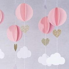 Pink White Gold Glitter Hot Air Balloon Hearts Cloud Baby Nursery Garland Banner