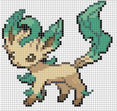 Pixel art of Leafeon from Pokémon, Nintendo. LIKE THIS PIXEL ART? Visit for more grids just like this! Pokemon, Zelda, Mario, and much much more! Beaded Cross Stitch, Cross Stitch Embroidery, Cross Stitch Patterns, Pixel Pattern, Pattern Art, Pixel Pokemon, Image Pixel Art, Pokemon Cross Stitch, Pokemon Craft
