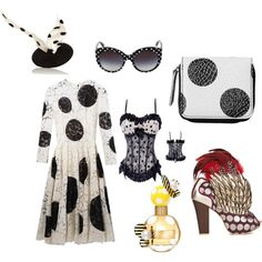 Dotted Fashion by sophieladydeparis on Polyvore featuring mode, Dolce&Gabbana, Irregular Choice, Monki, Benoit Missolin and Marc Jacobs