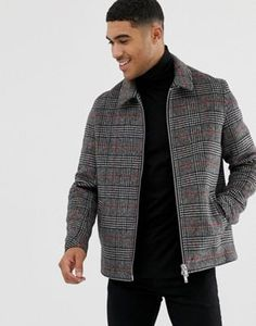 Browse online for the newest ASOS DESIGN wool mix zip through jacket in gray and orange check styles. Shop easier with ASOS' multiple payments and return options (Ts&Cs apply). Swag Style, Stylish Men, Men Casual, Black Outfit Men, Asos Men, Revival Clothing, Mens Clothing Styles, Latest Fashion Clothes, Online Shopping Clothes