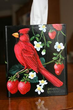 """This is a handpainted cardinal with strawberries and blossoms on a tissue box cover. Black background painted with acrylic""""s. It's painted on the top and 3 sides. Perfect for the cardinal bird or strawberries lover! Bird Painting Acrylic, China Painting, Tole Painting, Painted Boxes, Hand Painted, Black Background Painting, Learn To Paint, Tissue Boxes, Bird Art"""