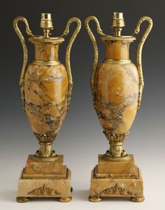 Empire Style Gilt Bronze Mounted Ochre Marble Lamps, early 20th c.