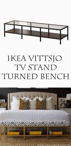 DIY IKEA HACK. Un banco para colocar a los pies de la cama hecho a partir del mueble de tv Vittsjo.