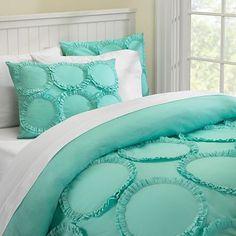 Ruffle Rings Duvet Cover + Sham from PBteen. Saved to bedding . Azul Tiffany, Tiffany Blue, Dream Bedroom, Home Bedroom, Bedroom Decor, Bedroom Ideas, Big Girl Bedrooms, Girls Bedroom, Aqua