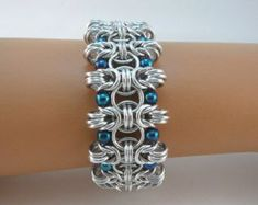Byzantine cuff bracelet with coral glass pearls Chainmaille