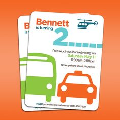 Transportation (Car / Bus / Helicopter) printable party invitation - for birthday, baby shower on Etsy, $15.00