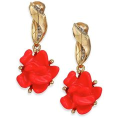 Oscar de la Renta Floral Resin & Crystal Clip-On Drop Earrings ($305) ❤ liked on Polyvore featuring jewelry, earrings, apparel & accessories, persimmon, resin earrings, floral drop earrings, gold tone earrings, crystal jewelry and rose jewelry