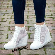 Jannara Beyaz Fileli Dolgu Topuklu Ayakkabı #sneakers #white #shoes
