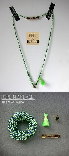 """DIY fluor green climbing rope necklace NewDIY fluro green rope necklace, simple technic and quick!! Things youll need: 50-60cm fine climbing rope 1 small stone charm 1mini tassel 1metal fastening buckle lighter scissors (Thisfluor green ropenecklace also sell at """"knitAbreak"""")"""
