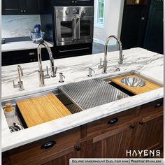 Breathtaking modern kitchen island. 🔥🔥🔥 This innovative workstation sink features advanced accessories that enhance the look and functionality of the kitchen. Which accessory is your favorite, the drying rack, sponge caddy, cutting board, or mixing bowl cutting board? PIN/FB HASHTAGS #stainlesssteelkitchen #openplankitchen #chefskitchen #styledforliving #luxurykitchen #hgtv Undermount Stainless Steel Sink, Stainless Steel Cleaner, Stainless Steel Types, Undermount Sink, Stainless Steel Kitchen, Steel Kitchen Sink, Kitchen Sinks, Kitchen Remodel, Kitchen Island