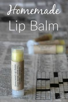 Lip Balm Recipe - This tried-and-true, super easy lip balm recipe moisturizes and protects with beeswax, natural cocoa butter and your choice of moisturizing oil. The post includes a downloadable template in the post along with links to the exact labels and lip balms used in the photos.
