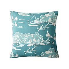 Skylake Toile Outdoor Pillow – Turquoise | Serena & Lily