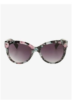 A few flowers and some sunshine make any day brighter. These black sunglasses have a fun multi-colored pink and green floral print that make them a cool pair of shades to rock.