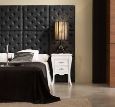 Contemporary Padded Wall Panels for Elegance Room Display : Black Capitone Padded Wall Panel Beautiful Interior Design, Beautiful Interiors, Modern Interior Design, Interior Design Inspiration, Interior Architecture, Bedroom Inspiration, Padded Wall Panels, Upholstered Wall Panels, Panel Headboard