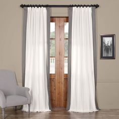 EFF 1-Panel Popcorn Vertical Colorblock Panama Curtain, Grey