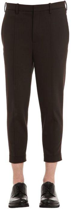 Neil Barrett Skinny Zip Hem Wool Gabardine Pants