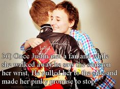 The whole story is a lot more touching.  He met her at a meet and greet. She didn't want to leave after hugging him So security started to pull her away. When they did her sleeve lifted up and Justin saw. He told them to let go of her and took her in to a private room. He talked to her for a while and told her she was beautiful and that no matter what cutting wouldn't help. And that every time she went to cut, remember what he told her.