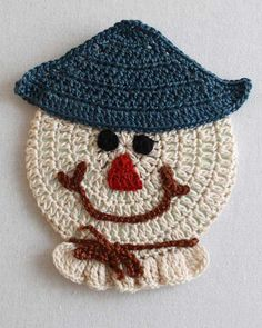 Cute scarecrow crochet coaster