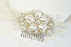 Bridal Hair Comb Vintage Hair Piece Pearl Hair Comb by BrassBoheme, $69.00