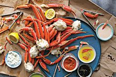 Steamed Crab Legs with Four Sauces. Discover our recipe rated by 17 members. Seafood Boil, Seafood Dishes, Fish And Seafood, Crab Boil, Steamed Crab Legs, Steamed Crabs, Shellfish Recipes, Seafood Recipes, Lobster Recipes