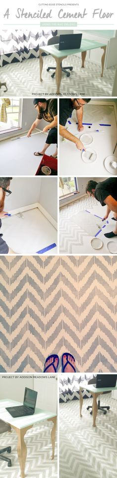 Cutting edge stencils shares a diy stenciled faux brick accent ...