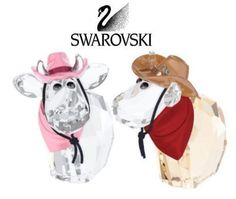 Swarovski Colored Crystal Cow Figurines Cowboy & Cowgirl #5004625 New
