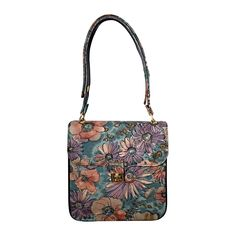 Incredible Vintage Bags by Varon Hand Painted Leather Flower Purse Handbag  | From a collection of rare vintage shoulder bags at https://www.1stdibs.com/fashion/handbags-purses-bags/shoulder-bags/