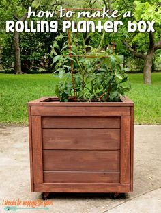 How to Make a Rolling Planter Box How to Build a Rolling Planter Box: Complete step-by-step tutorial with photos. Wooden Planter Boxes Diy, Wooden Flower Boxes, Cedar Planter Box, Wooden Diy, Planter Ideas, Wood Boxes, Diy Planters Outdoor, Tree Planters, Wood Planters
