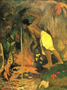 Mysterious Water by Paul Gauguin in oil on canvas, done in Now in a private collection. Find a fine art print of this Paul Gauguin painting. Paul Gauguin, Henri Matisse, Gauguin Tahiti, Impressionist Artists, Pics Art, Oil Painting Reproductions, Claude Monet, French Art, Pablo Picasso